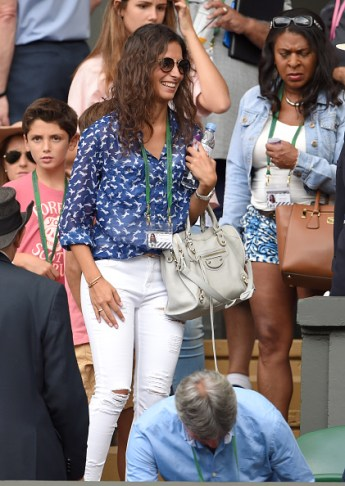 LONDON, ENGLAND - JULY 02: Xisca Perello attends the Dustin Brown v Rafael Nadal match on day four of the Wimbledon Tennis Championships at Wimbledon on July 2, 2015 in London, England. (Photo by Karwai Tang/WireImage)
