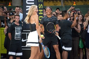 "NEW YORK, NY - AUGUST 24: Maria Sharapova (L) and Rafael Nadal attend Nike's ""NYC Street Tennis"" event on August 24, 2015 in New York City. (Photo by D Dipasupil/FilmMagic)"