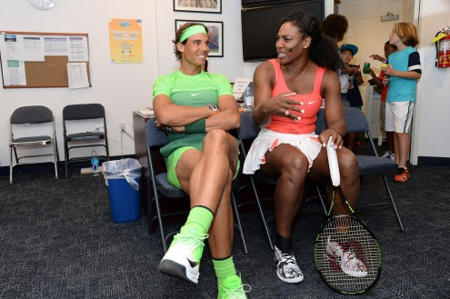 August 29, 2015 - Rafael Nadal and Serena Williams participate in Arthur Ashe Kids' Day during the 2015 US Open at the USTA Billie Jean King National Tennis Center in Flushing, NY. - USTA/Jen Pottheiser
