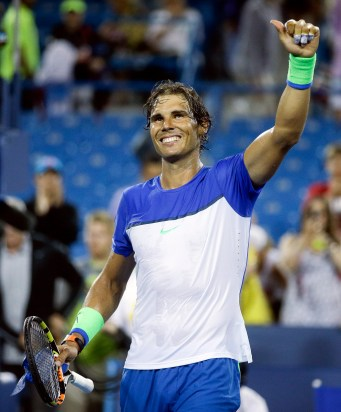 Rafael Nadal, of Spain, reacts after winning his match against Jeremy Chardy, of France, at the Western & Southern Open tennis tournament, Thursday, Aug. 20, 2015, in Mason, Ohio. (AP Photo/John Minchillo)
