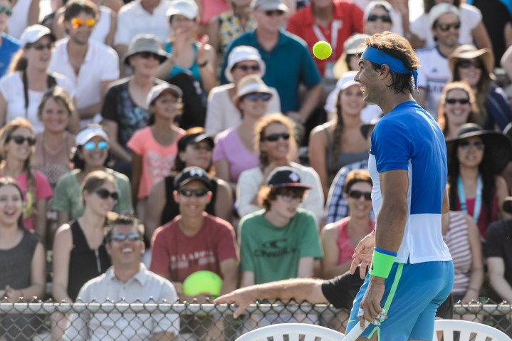 MONTREAL, ON - AUGUST 10: Rafael Nadal of Spain bounces a ball off his forehead during day one of the Rogers Cup at Uniprix Stadium in his doubles match against Tomas Berdych of the Czech Republic and Jack Sock of the USA on August 10, 2015 in Montreal, Quebec, Canada. (Photo by Minas Panagiotakis/Getty Images)
