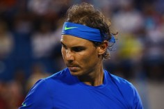 CINCINNATI, OH - AUGUST 20: Rafael Nadal of Spain looks on during his match against Feliciano Lopez of Spain on Day 6 of the Western & Southern Open at the Lindner Family Tennis Center on August 20, 2015 in Cincinnati, Ohio. (Photo by Maddie Meyer/Getty Images)