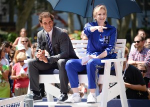 Professional tennis player Rafael Nadal and actress Jane Lynch participate in the Tommy Hilfiger Global Brand launch tennis event on Tuesday, Aug. 25, 2015, in New York. (Photo by Evan Agostini/Invision/AP)
