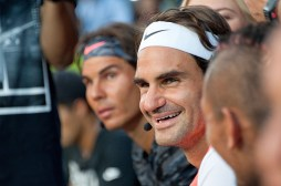 "NEW YORK, NY - AUGUST 24: (L-R) Rafael Nadal and Roger Federer attend Nike's ""NYC Street Tennis"" event on August 24, 2015 in New York City. (Photo by D Dipasupil/FilmMagic)"