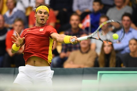 ODENSE, DENMARK - SEPTEMBER 18: Rafael Nadal of Spain in action in his match against Mikael Torpegaard of Denmark during the Davis Cup Tennis match between Denmark and Spain at Odense Idratshal on September 18, 2015 in Odense, Denmark. (Photo by Lars Ronbog / FrontZoneSport via Getty Images)