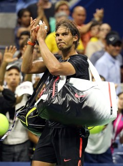 NEW YORK, NY - SEPTEMBER 04: Rafael Nadal of Spain walks off the court after his loss to Fabio Fognini of Italy on Day Five of the 2015 US Open at the USTA Billie Jean King National Tennis Center on September 4, 2015 in the Flushing neighborhood of the Queens borough of New York City. (Photo by Streeter Lecka/Getty Images)