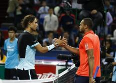 Rafael Nadal (L) of Spain and Jo-Wilfried Tsonga (R) of France shake hands after their semi-final match in the Shanghai Tennis Masters at the Qi Zhong Tennis Center in Shanghai, China, 17 October 2015. (España, Tenis, Francia) EFE/EPA/ROLEX DELA PENA