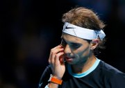 Rafael Nadal of Spain reacts during his match against Bulgaria's Grigor Dimitrov at the Swiss Indoors ATP men's tennis tournament in Basel, Switzerland October 28, 2015. REUTERS/Arnd Wiegmann