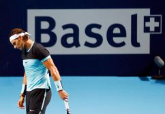 Rafael Nadal of Spain reacts during his match against Czech Republic's Lukas Rosol at the Swiss Indoors ATP men's tennis tournament in Basel, Switzerland October 26, 2015. REUTERS/Arnd Wiegmann