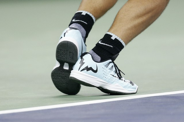 SHANGHAI, CHINA - OCTOBER 14: A detail of Rafael Nadal of Spain's shoes as he serves against against Ivo Karlovic of Croatia during the men's singles second round match on day 4 of Shanghai Rolex Masters at Qi Zhong Tennis Centre on October 14, 2015 in Shanghai, China. (Photo by Lintao Zhang/Getty Images)
