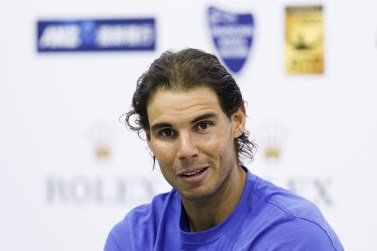 SHANGHAI, CHINA - OCTOBER 15: Rafael Nadal of Spain speaks at a press conference after winning his men's singles third round match against Milos Raonic of Canada on day 5 of Shanghai Rolex Masters at Qi Zhong Tennis Centre on October 15, 2015 in Shanghai, China. (Photo by Lintao Zhang/Getty Images)