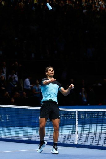 Rafael Nadal of Spain throws his sweatband into the crowd following his victory during the men's singles match against David Ferrer of Spain on day six of the Barclays ATP World Tour Finals at the O2 Arena on November 20, 2015 in London, England. (Nov. 19, 2015 - Source: Julian Finney/Getty Images Europe