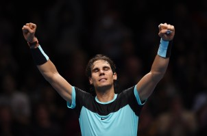 Tennis - Barclays ATP World Tour Finals - O2 Arena, London - 20/11/15 Men's Singles - Spain's Rafael Nadal celebrates winning his match against Spain's David Ferrer Action Images via Reuters / Tony O'Brien Livepic EDITORIAL USE ONLY.