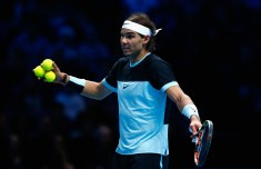 LONDON, ENGLAND - NOVEMBER 21: Rafael Nadal of Spain reacts in his match against Novak Djokovic of Serbia in the semi final during the Barclays ATP World Tour Finals on Day Seven at O2 Arena on November 21, 2015 in London, England. (Photo by Julian Finney/Getty Images)