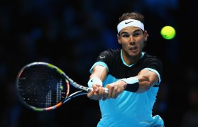 Rafael Nadal of Spain plays a backhand in his men's singles match against Stanislas Wawrinka of Switzerland during day two of the Barclays ATP World Tour Finals at O2 Arena on November 16, 2015 in London, England. (Nov. 15, 2015 - Source: Clive Brunskill/Getty Images Europe)