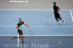 Rafael Nadal (R) of Spain and Leander Paes of India compete against Dominic Inglot of Great Britain and Robert Lindstedt of Sweden during Day 2 of the BNP Paribas Masters held at AccorHotels Arena on November 3, 2015 in Paris, France. (Nov. 2, 2015 - Source: Dean Mouhtaropoulos/Getty Images Europe)