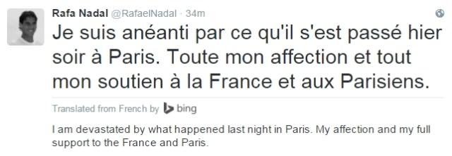 """""""Estoy destrozado por todo lo que ha pasado ayer noche en París. Mando todo mi cariño y apoyo a toda Francia y a todos los ciudadanos de París."""""""