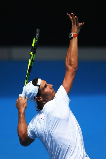 Rafael Nadal during a practice session ahead of the 2016 Australian Open at Melbourne Park on January 13, 2016 in Melbourne, Australia. (Graham Denholm/Getty Images AsiaPac)