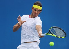 Rafael Nadal in action during a practice session ahead of the 2016 Australian Open at Melbourne Park on January 14, 2016 in Melbourne, Australia. (Michael Dodge/Getty Images)
