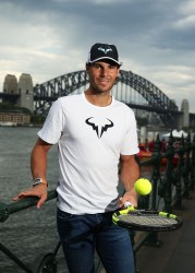 SYDNEY, AUSTRALIA - JANUARY 11: Rafael Nadal poses during the FAST4Tennis media opportunity at Circular Quay on January 11, 2016 in Sydney, Australia. (Photo by Brendon Thorne/Getty Images)