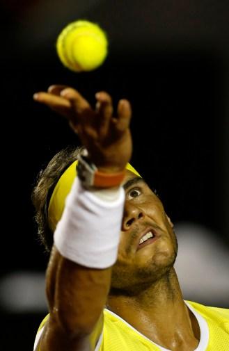 Rafael Nadal of Spain, serves to Pablo Carreno of Spain, at the Rio Open tennis tournament, in Rio de Janeiro, Brazil, Tuesday, Feb. 16, 2016. (AP Photo/Silvia Izquierdo)