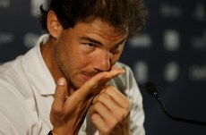 Rafael Nadal of Spain pauses during a press conference at the Rio Open tennis tournament in Rio de Janeiro, Brazil Monday, Feb. 15, 2016. (AP Photo/Leo Correa)