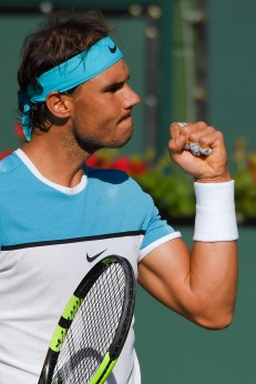 Rafael Nadal, of Spain, reacts while playing Alexander Zverev, of Germany, during the BNP Paribas Open tennis tournament, Wednesday, March 16, 2016, in Indian Wells, Calif. (AP Photo/Mark J. Terrill)