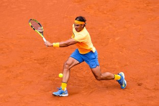 Rafael Nadal of Spain plays a plays a backhand against Albert Montanez during day four of the Barcelona Open Banc Sabadell at the Real Club de Tenis Barcelona on April 21, 2016 in Barcelona, Spain. Nadal won 6-2, 6-2. (April 20, 2016 - Source: David Ramos/Getty Images Europe)