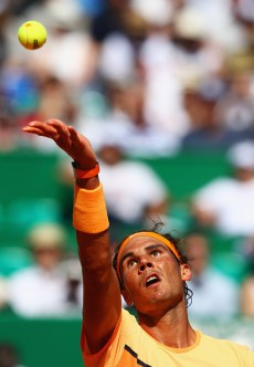 MONTE-CARLO, MONACO - APRIL 14: Rafael Nadal of Spain serves during the round three match against Dominic Thiem of Austria on day five of Monte Carlo Rolex Masters at Monte-Carlo Sporting Club on April 14, 2016 in Monte-Carlo, Monaco. (Photo by Michael Steele/Getty Images)