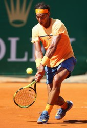 during the round three match on day five of Monte Carlo Rolex Masters at Monte-Carlo Sporting Club on April 14, 2016 in Monte-Carlo, Monaco.