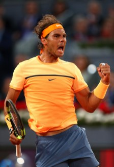 MADRID, SPAIN - MAY 05: Rafael Nadal of Spain celebrates winning the first set against Sam Querrey of USA during day six of the Mutua Madrid Open tennis tournament at the Caja Magica on May 05, 2016 in Madrid, Spain. (Photo by Julian Finney/Getty Images)