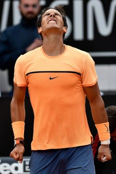 ROME, ITALY - MAY 12: Rafael Nadal of Spain celebrates match point in his match against Nick Kyrgios of Australia on Day Five of The Internazionali BNL d'Italia on May 12, 2016 in Rome, Italy. (Photo by Dennis Grombkowski/Getty Images)