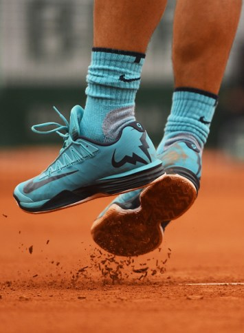 PARIS, FRANCE - MAY 24: A detailed view as Rafael Nadal of Spain serves during the Men's Singles first round match against Sam Groth of Australia on day three of the 2016 French Open at Roland Garros on May 24, 2016 in Paris, France. (Photo by Dennis Grombkowski/Getty Images)