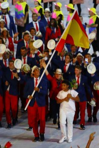 Flag bearer Rafael Nadal of Spain leads his team during the Opening Ceremony of the Rio 2016 Olympic Games at Maracana Stadium on August 5, 2016 in Rio de Janeiro, Brazil. (Aug. 4, 2016 - Source: Elsa/Getty Images South America)