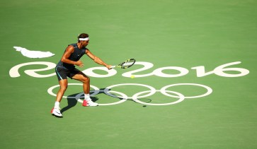 Rafael Nadal of Spain practices at the Olympic Tennis Centre prior to the Rio 2016 Olympic Games on August 5, 2016 in Rio de Janeiro, Brazil. (Aug. 4, 2016 - Source: Clive Brunskill/Getty Images South America)