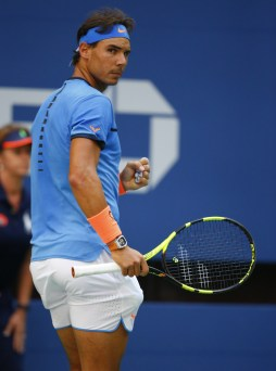 Rafael Nadal of Spain hits reacts as he plays against Lucas Pouille of France during their US Open Men's Singles match at the USTA Billie Jean King National Tennis Center in New York on September 4, 2016. / AFP / KENA BETANCUR (Sept. 3, 2016 - Source: AFP)