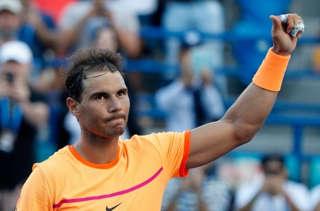 ABU DHABI, UNITED ARAB EMIRATES - DECEMBER 31: Rafael Nadal of Spain celebrates after winning the Mubadala World Tennis Championship at Zayed Sport City on December 31, 2016 in Abu Dhabi, United Arab Emirates. (Photo by Francois Nel/Getty Images)