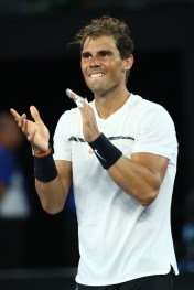 Rafael Nadal of Spain celebrates winning match point in his semifinal match against Grigor Dimitrov of Bulgaria on day 12 of the 2017 Australian Open at Melbourne Park on January 27, 2017 in Melbourne, Australia. (Jan. 26, 2017 - Source: Cameron Spencer/Getty Images AsiaPac)
