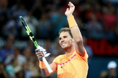 Rafael Nadal of Spain celebrates winning his quarter final match against Mischa Zverev of Germany during day five of the 2017 Brisbane International at Pat Rafter Arena on January 5, 2017 in Brisbane, Australia. (Jan. 4, 2017 - Source: Chris Hyde/Getty Images AsiaPac)