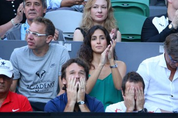 MELBOURNE, AUSTRALIA - JANUARY 29: Xisca Perello watches the Men's Final match between Roger Federer of Switzerland and Rafael Nadal of Spain on day 14 of the 2017 Australian Open at Melbourne Park on January 29, 2017 in Melbourne, Australia. (Photo by Michael Dodge/Getty Images)