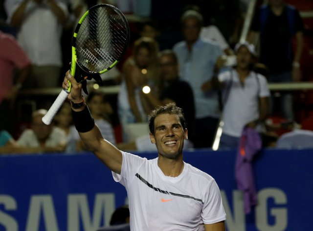 Tennis - Mexican Open - Men's Singles - First Round - Acapulco, Mexico - 28/2/17. Spain's Rafael Nadal celebrates his victory against Germany's Mischa Zverev. REUTERS/Henry Romero