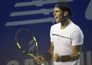 Spain's Rafael Nadal celebrates during his quarterfinal match at the Mexican Tennis Open with Japan's Yoshihito Nishioka in Acapulco, Mexico, Thursday, March 2, 2017. Nadal won the match. (AP Photo/Enric Marti)