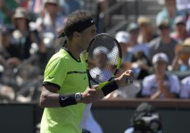 Rafael Nadal, of Spain, reacts after winning a point against Fernando Verdasco, of Spain, at the BNP Paribas Open tennis tournament, Tuesday, March 14, 2017, in Indian Wells, Calif. (AP Photo/Mark J. Terrill)
