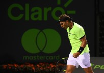 Rafael Nadal of Spain reacts during a match against Jack Sock at Crandon Park Tennis Center on March 29, 2017 in Key Biscayne, Florida. (March 28, 2017 - Source: Rob Foldy/Getty Images North America)