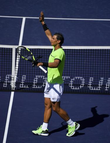 Rafael Nadal, of Spain, celebrates his win against Guido Pella, of Argentina, at the BNP Paribas Open tennis tournament, Sunday, March 12, 2017, in Indian Wells, Calif. (AP Photo/Mark J. Terrill)