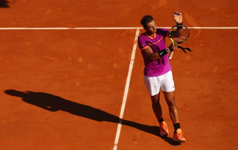 Rafael Nadal of Spain celebrates to the crowd after his straight sets victory against Alexander Zverev of Germany in his third round match on day five of the Monte Carlo Rolex Masters at Monte-Carlo Sporting Club on April 20, 2017 in Monte-Carlo, Monaco. (April 19, 2017 - Source: Clive Brunskill/Getty Images Europe)