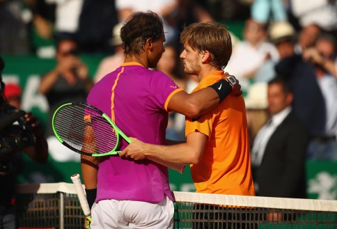 Rafael Nadal of Spain shakes hands at the net after his straight sets victory against David Goffin of Belgium in their semi final round match on day seven of the Monte Carlo Rolex Masters at Monte-Carlo Sporting Club on April 22, 2017 in Monte-Carlo, Monaco. (April 21, 2017 - Source: Clive Brunskill/Getty Images Europe)