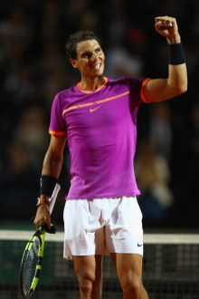 Rafael Nadal of Spain celebrates his straight sets victory during the men's third round match against Jack Sock of USA on Day Five of the Internazionali BNL d'Italia 2017 at the Foro Italico on May 18, 2017 in Rome, Italy. (May 17, 2017 - Source: Michael Steele/Getty Images Europe)