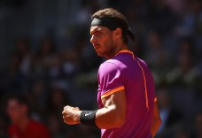 Rafael Nadal of Spain celebrates a point against Novak Djokovic of Serbia in the semi finals during day eight of the Mutua Madrid Open tennis at La Caja Magica on May 13, 2017 in Madrid, Spain. (May 12, 2017 - Source: Julian Finney/Getty Images Europe)