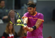Rafael Nadal of Spain in action in his match against Nick Kyrgios of Australia during day six of the Mutua Madrid Open tennis at La Caja Magica on May 11, 2017 in Madrid, Spain. (May 10, 2017 - Source: Julian Finney/Getty Images Europe)
